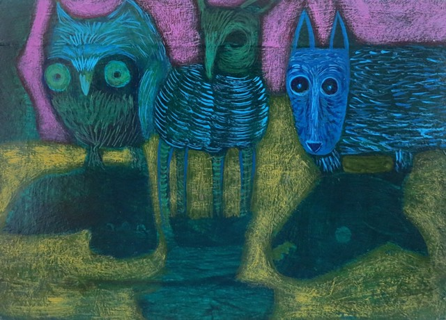 animals figures in a field purple blue green shadows expressionism acrylic painting Portland