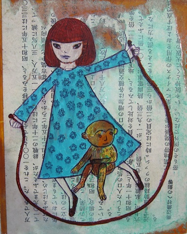 Asian, Japanese, figures, paintings, tiny, text, collage, text, paper monkey jump rope