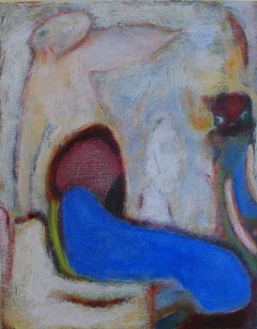 expressionism dream angel figures texture abstract blue red beasts
