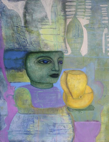 acrylic painting girl portrait gold goblet purple figure hat green yellow expressionism
