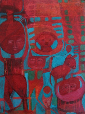 red figures abstract blue expressionism cat beast green monkey