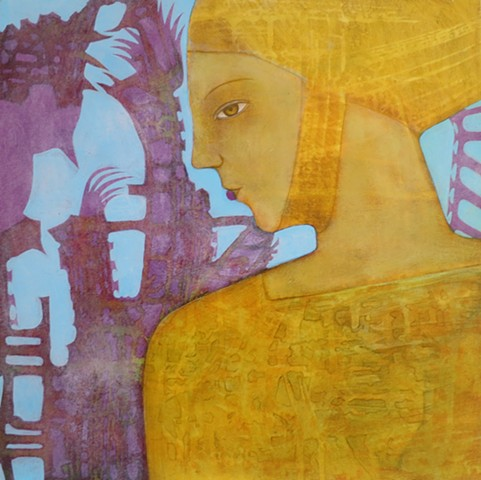 Grecian gold and purple woman ruins with berries and bird acrylic painting profile Portland