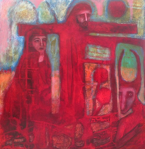 "Weight, red, pastel, painting, figures, expressionism, ""cathie joy young"",Jesus,crucifixion"