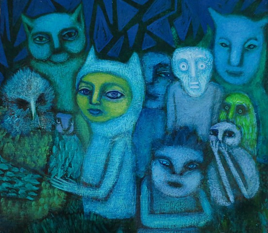 Sendak like figures beasts in forest party creatures animals green blue dark acrylic painting Portland