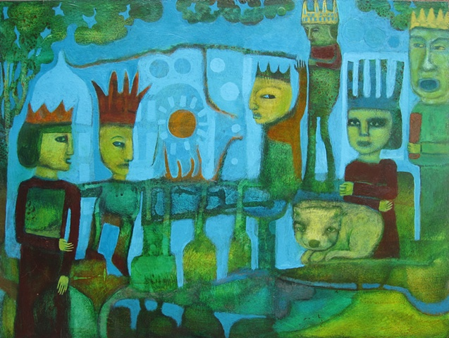 painting, Portland, art, figures, animals, creatures,blue, orange,green, expressionism, kings