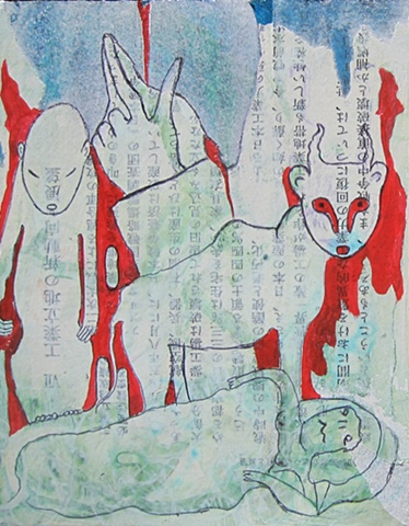mixed, media, pen, ink, acrylic, asian, text, figure, bull, nightmare, red, blue
