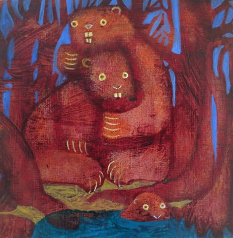 beaver family by a dam acrylic painting