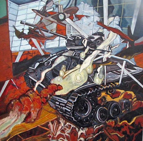 Left is Right: War Museum Series.  Oil on Canvas. 2013. 4 x 4 ft.