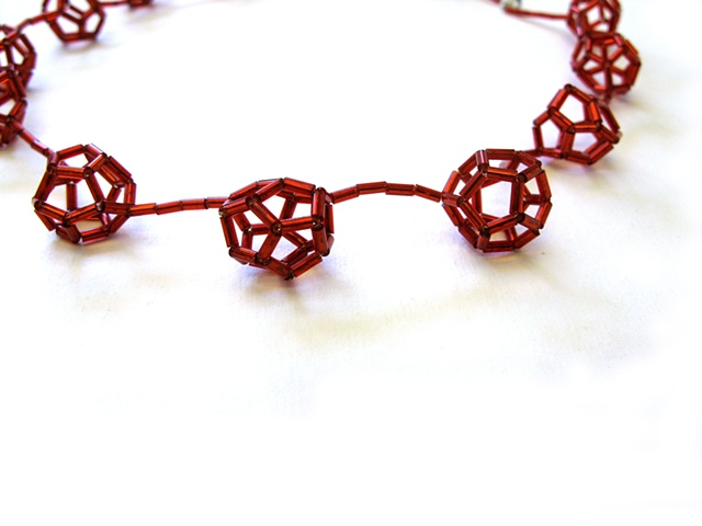 geometric jewellery made with glass bugle beads