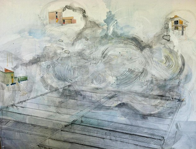 "48"" x 57"" acrylic, pencil, gesso, and ink on paper"
