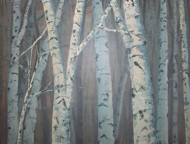 Roadside Birches, Day  SOLD