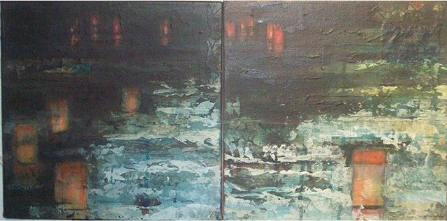 The painting is inspired by a Buddhist lantern ceremony of remembrance