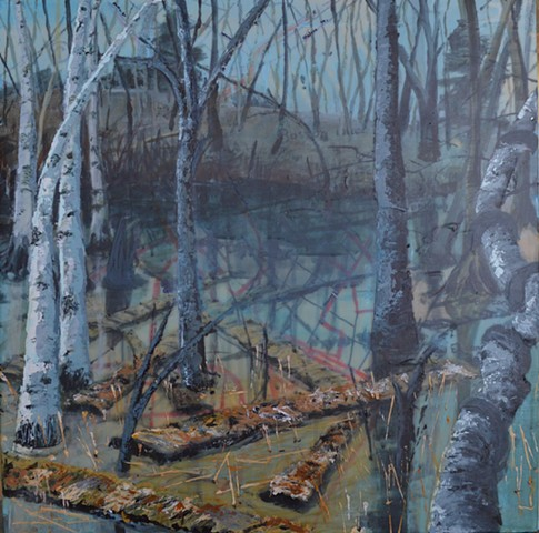 birches wetland city map painting