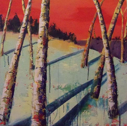 trees, treescape painting, birches