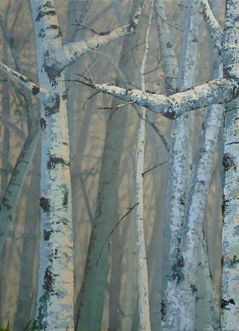 birch trees, painting