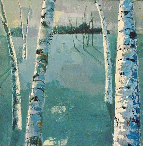 Birch trees, winter landscape