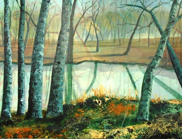 painting, trees by river