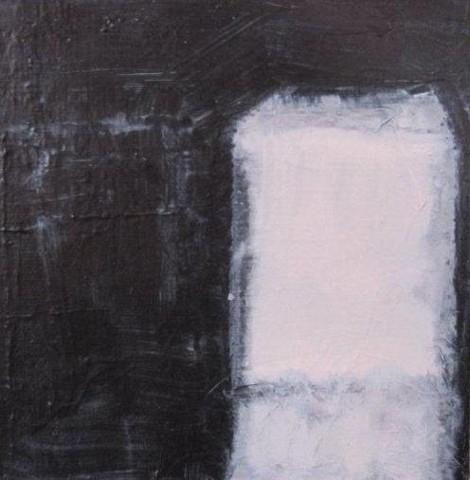Mixed media painting, lantern, light and dark