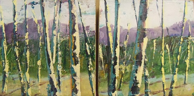 Shelburne Birches, trees, painting