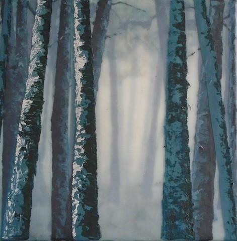 Birch grove, view to inner forest.  Matte medium imitates wax.