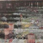 Mixed media, collage, lanterns floating on water