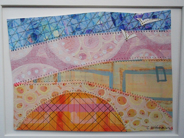 This quilt painting was created using mixed media (acrylic, water color, chalk,  ink, thread) on water color paper