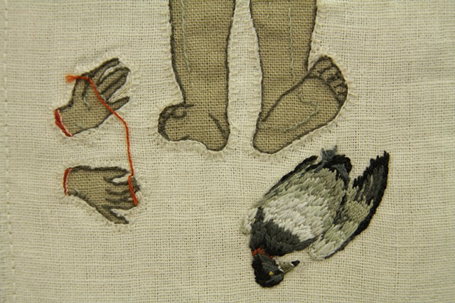 Detail of sampler with duck, feet, and hands with string