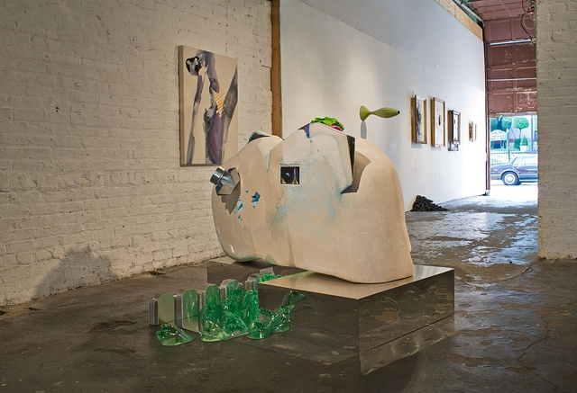 Installation view of a group show at Flux Factory, NY, 2011.