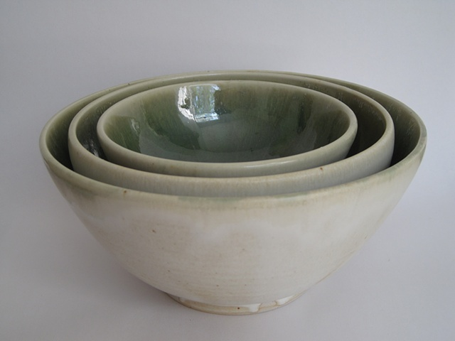 green+cream nesting bowls (set of 3)