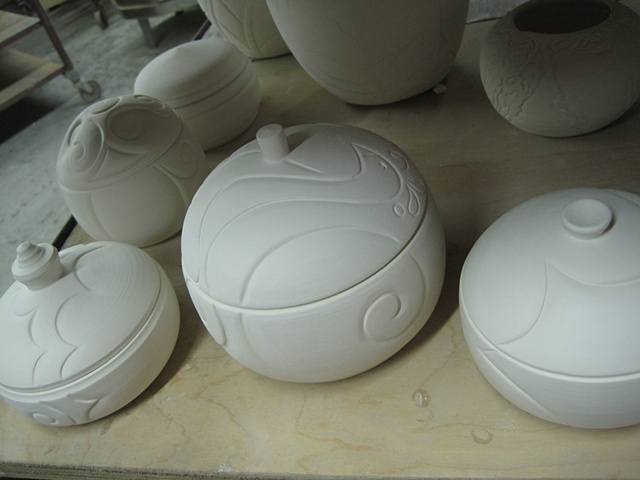 porcelain boxes--unglazed