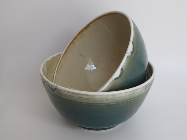 teal+oatmeal pair of bowls