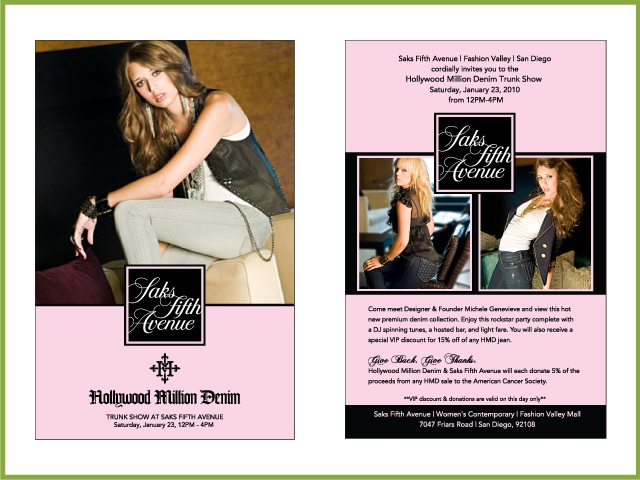 Trunk Show Invitation Client: Hollywood Million Denim
