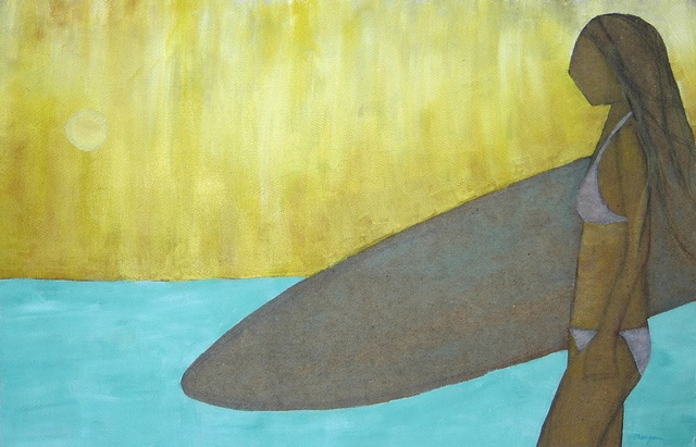 surfer girl painting