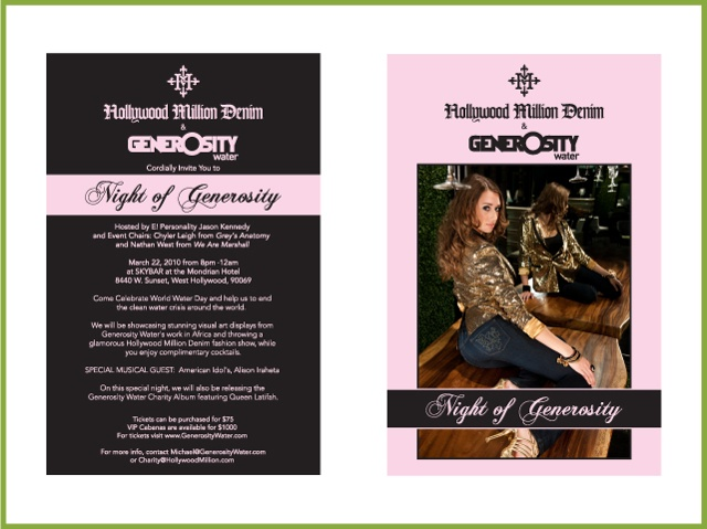 Night of Generosity Invitation Client: Hollywood Million Denim