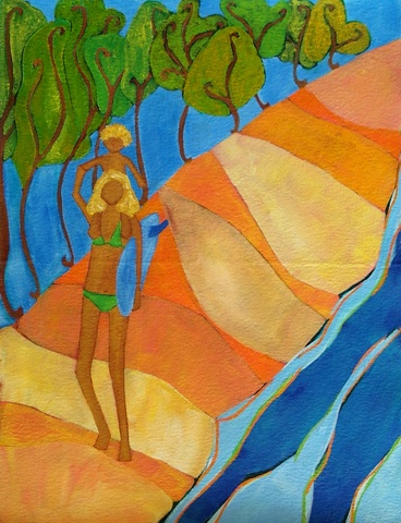 surf art image painting mom son