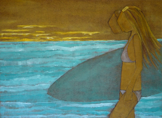 surfing girl image painting