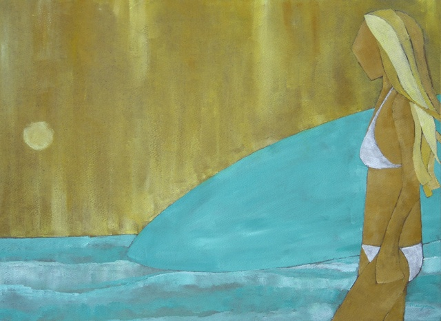 surfer girl painting image