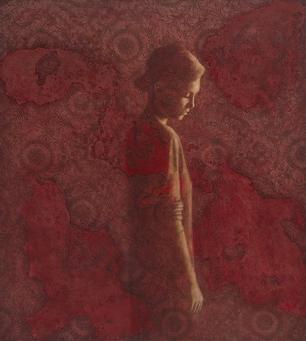 figurative painting, red, girl, woman, lace, texture