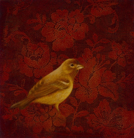 oil painting of yellow bird on red lace flowers by susan hall
