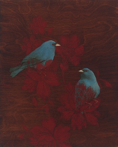 birds, wood grain, brown, red, oil painting, indigo buntings