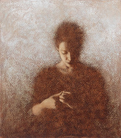 oil painting of a female figure on a lace background by susan hall
