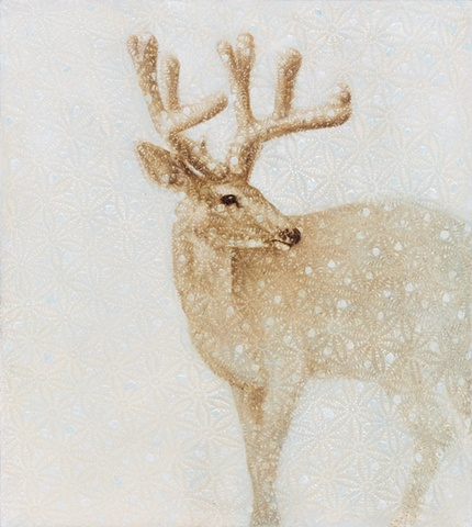 oil painting of deer buck on crochet lace by susan hall