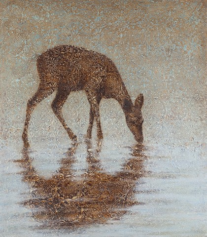 oil painting of a doe deer in water on lace crochet background by susan hall