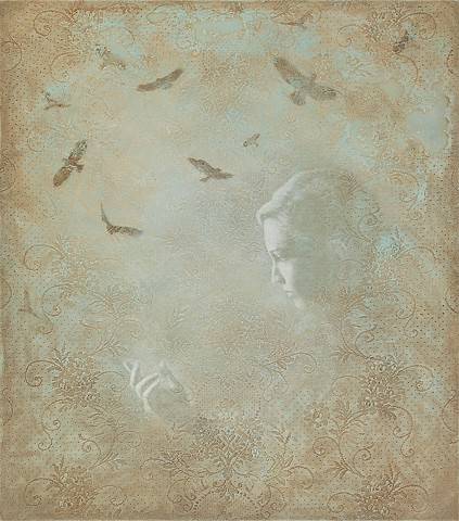 hawks, birds, woman, girl, sky, flight, blue, green, brown, oil painting, lace
