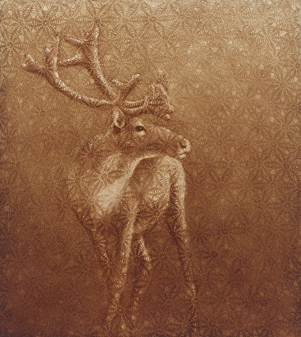 oil painting of a caribou with crochet lace by susan hall