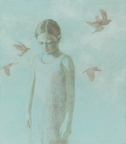 oil painting of girl and birds with lace by susan hall