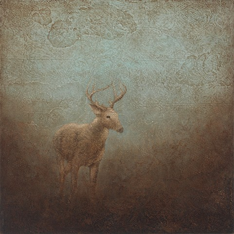 deer, lace, texture, brown, blue, landscape