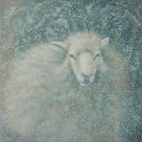 oil painting of lamb sheep on lace textured background by susan hall