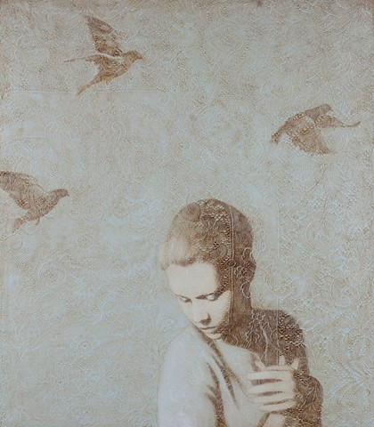 oil painting of woman with birds and lace by susan hall