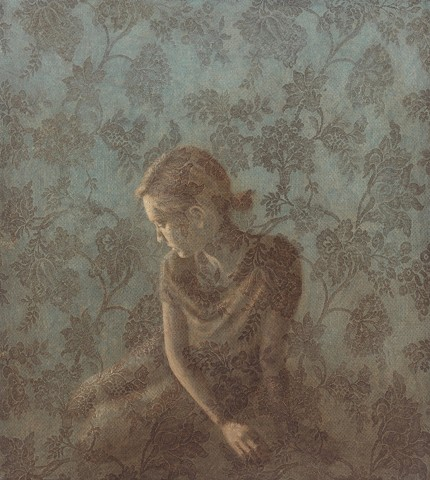 oil painting of female woman with lace by susan hall